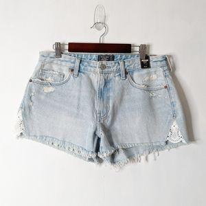A & F Harper Low Rise Cutoff Distressed Shorts